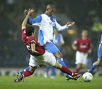 Photo. Aidan Ellis.Digitalsport<br /> Blackburn Rovers v Bournemouth<br /> Carling Cup 2nd round.<br /> 22/09/2004.<br /> Blackburn's Jay bothroyd and Bournemouth's Karl Broadhurst
