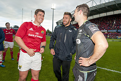 May 20, 2017 - Limerick, Irland - Ian Keatley of Munster talks with Rhys Webb and Tom Habberfield of Ospreys after the Guinness PRO12 Semi-Final match between Munster Rugby and Ospreys at Thomond Park Stadium in Limerick, Ireland on May 20, 2017  (Credit Image: © Andrew Surma/NurPhoto via ZUMA Press)