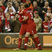 Photo: Aidan Ellis.<br /> Liverpool v Tottenham Hotspur. The Barclays Premiership.<br /> 14/01/2006.<br /> Liverpool's Harry Kewell celebrates his goal with Steve Finnan