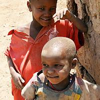 Africa, Kenya, Amboseli. Young Maasai children.