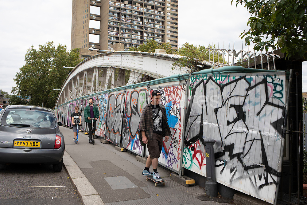 A bridge on Golbourne Road is fenced off and boarded up in preparation for the upcoming Notting Hill Carnival on August 22nd 2019 in London, England, United Kingdom. An expected 1 million revellers are expected to visit Carnival on the weekend, so many owners have decided to protect their properties as a precaution.