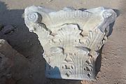 Ancient byzantine pillar heads, Apollonia, Israel