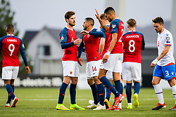 June 10, 2019 - Torshavn, FAROE ISLANDS - 190610 HÃ¥vard Nordtveit, Omar Elabdellaoui and Bjørn Maars Johnsen of Norway celebrate after the 0-2 goal while Atli Gregersen of Faroe Islands looks dejected during the UEFA Euro Qualifier football match between Faroe Islands and Norway on June 10, 2019 in Torshavn..Photo: Vegard Wivestad Grøtt / BILDBYRÃ…N / kod VG / 170360 (Credit Image: © Vegard Wivestad GrØTt/Bildbyran via ZUMA Press)