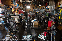 Hiromichi Nishiyama's Cycle West custom motorcycle shop after the Mooneyes Yokohama Hot Rod & Custom Show. Japan. December 8, 2016.  Photography ©2016 Michael Lichter.