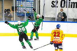 Anze Ropret of HK SZ Olimpija and Ziga Pance of HK SZ Olimpija celebrate during 3rd leg of ic hockey game between HK SZ Olimpija Ljubljana and Asiago Hockey in Final of Alps Hockey League 2020/21, on April 24, 2021 in Hala Tivoli, Ljubljana, Slovenia. Photo by Matic Klansek Velej / Sportida