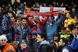 Barcelona fans celebrate after their sides 0-2 victory - Photo mandatory by-line: Rogan Thomson/JMP - Tel: 07966 386802 - 18/02/2014 - SPORT - FOOTBALL - Etihad Stadium, Manchester - Manchester City v Barcelona - UEFA Champions League, Round of 16, First leg.