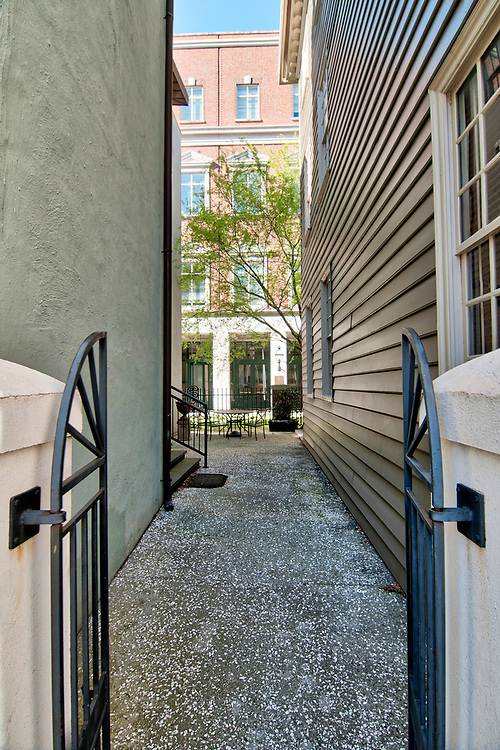 A narrow walkway between buildings in front of the Charleston County Courthouse in Charleston, South Carolina on Wednesday, March 7, 2018. Copyright 2018 Jason Barnette