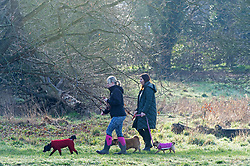 © Licensed to London News Pictures 27/02/2021.        Sidcup, UK. Early morning dog walkers. People get out of their homes from a third national Coronavirus lockdown to enjoy some sunny morning weather at Footscray Meadows in Sidcup, South East London. Photo credit:Grant Falvey/LNP