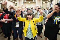 © Licensed to London News Pictures . 02/05/2019. Bolton, UK. Farnworth and Kearsley First independent party supporters cheer their candidate Lisa Weatherby's win in Farnworth . The count for Bolton Council at Bolton Town Hall . The Labour Party are threatened to lose their majority on the council . Local council elections are taking place across the country . Photo credit: Joel Goodman/LNP