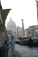 Street scene near the Vatican, Rome, Italy at sunset<br />