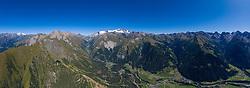 THEMENBILD - Panoramaansicht Grossglockner (Glockner), höchster Berg Österreichs (3798m) und umliegende Gipfel der Glocknergruppe, im Tal die Gemeinde Kals am Grossglockner mit den Seitentälern, Dorfertal, Teischnitztal, Ködnitztal und Lesachalmtal im Sommer, am Mittwoch 04. September 2019, Kals am Großglockner, Österreich // Panorama view Grossglockner (Glockner), highest mountain in Austria (3798m) and surrounding peaks of the Glocknergruppe, in the valley the municipality Kals am Grossglockner with side valleys, Dorfertal, Teischnitztal, Ködnitztal and Lesachalmtal in summer, on Wednesday 04. September 2019, Kals am Großglockner, Austria. EXPA Pictures © 2019, PhotoCredit: EXPA/ Johann Groder<br /> <br /> ***** ACHTUNG - dieses Bilddatei ist für den Grossformatdruck in einer maximalen Grösse mit mehr als 15000 x 5500 pixel (ca. 400 MB) verfügbar! Fragen Sie nach den hochauflösenden Daten. // ATTENTION - This image file is for Large Format Printing available in a maximum size of more then 15000 x 5500 pixels (about 400 MB)! Ask for the high-resolution data. *****