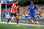 Chelsea Midfielder Willian (22) plays a pass during the Premier League match between Chelsea and Sunderland at Stamford Bridge, London, England on 21 May 2017. Photo by Andy Walter.
