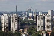Aerial view of south London looking from Camberwell towards Lambeth tower blocks and the London Eye on Southbank.