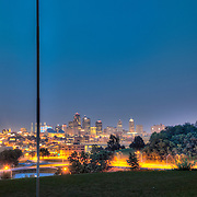 Lighting installation by Lightworks KC illuminating downtown Kansas City's Scout Statue at Penn Valley Park.