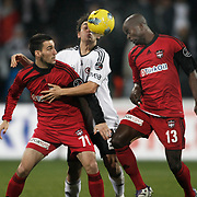Gaziantepspor's Dany Nounkeu (R) and Ivelin Popov (L) during their Turkish superleague soccer match Besiktas between Gaziantepspor at BJK Inonu Stadium in Istanbul Turkey on Tuesday, 05 January 2012. Photo by TURKPIX