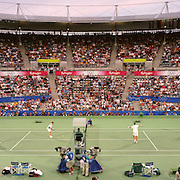 A panoramic image of Sébastien Lareau and Daniel Nestor.Canada winning the Gold Medal defeating Todd Woodbridge.and Mark Woodforde Australia in the final of the Men's Doubles Tennis at the Tennis Centre at Sydney Olympic Park during the 2000 Sydney Olympic Games...Panoramic images from the Sydney Olympic Games, Sydney, Australia. 2000 . Photo Tim Clayton