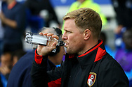 Bournemouth Manager Eddie Howe takes a drink prior to kick off. Premier league match, Everton vs Bournemouth at Goodison Park in Liverpool, Merseyside on Saturday 23rd September 2017.<br /> pic by Chris Stading, Andrew Orchard sports photography.