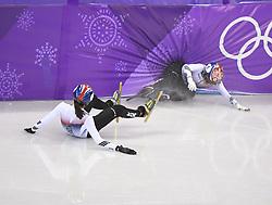PYEONGCHANG, Feb. 22, 2018  South Korea's Choi Minjeong (R) and Shim Sukhee fall out of track during women's 1000m final of short track speed skating at the 2018 PyeongChang Winter Olympic Games at Gangneung Ice Arena, Gangneung, South Korea, Feb. 22, 2018. (Credit Image: © Wang Song/Xinhua via ZUMA Wire)