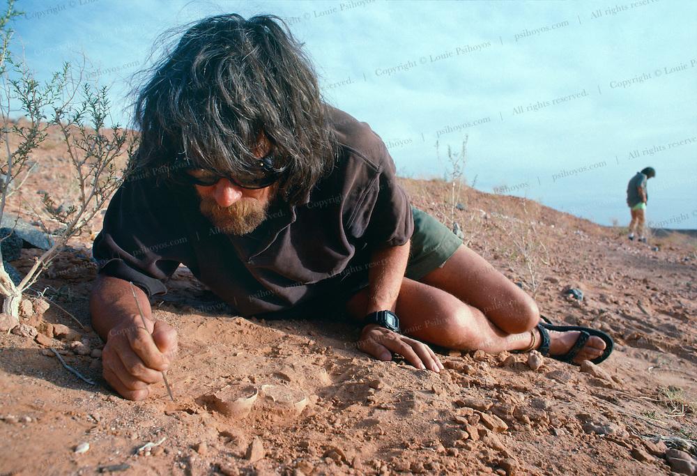 Mark Norell slowly picks at a prehistoric nest of Dromaeosaur eggs in Ukhaa Tolgod, Gobi Desert.