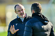 Hibernian FC assistant head coach, John Potter speaks with Hibernian FC manager, Jack Ross during the  training session for Hibernian FC at the Hibs Training Centre, Ormiston, Scotland on 26 February 2021, ahead of the SPFL Premiership match against Motherwell.
