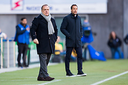 (L-R) coach Dick Advocaat of Sparta Rotterdam, coach John van 't Schip of PEC Zwolle during the Dutch Eredivisie match between PEC Zwolle and Sparta Rotterdam at the MAC3Park stadium on March 31, 2018 in Zwolle, The Netherlands