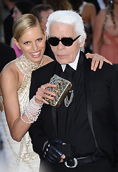 Karolina Kurkova and Karl Lagerfeld arriving for amfAR's annual Cinema Against AIDS Gala held at the Hotel du Cap Eden Roc in Antibes, southern France on May 19, 2011, as part of the 64th Cannes International Film Festival. Photo by Hahn-Nebinger-Genin/ABACAPRESS.COM
