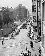 Y-480722-01.  Portland SW Morrison & 5th looking west. Trolley 563 Mt Tabor. July 22, 1948