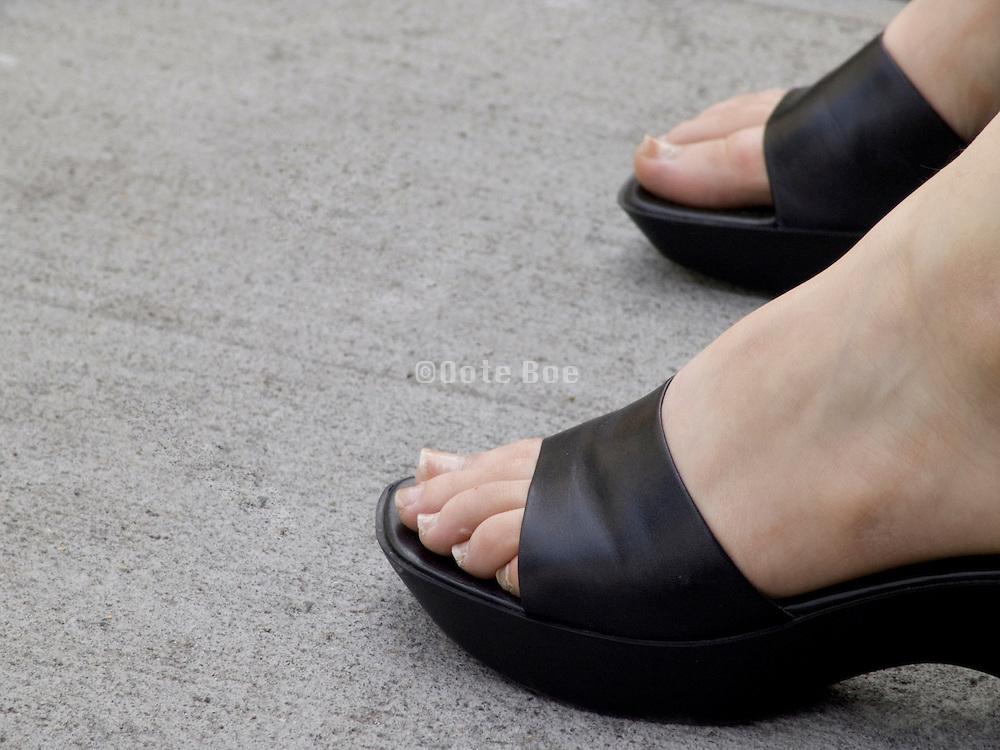 close up of woman feet