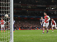 Arsenal's Mikel Arteta scoring his sides opening goal<br /> <br /> - Champions League Group D - Arsenal vs Anderlecht- Emirates Stadium - London - England - 4th November 2014  - Picture David Klein/Sportimage