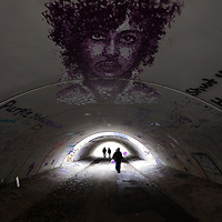 CHANHASSEN, MN - APRIL 21: Prince fans gather to look at memorials on the in the pedestrian tunnel near Paisley Park on the fifth anniversary of Prince's death at Paisley Park on April 21, 2021 in Chanhassen, Minnesota. (Photo by Adam Bettcher/Getty Images)