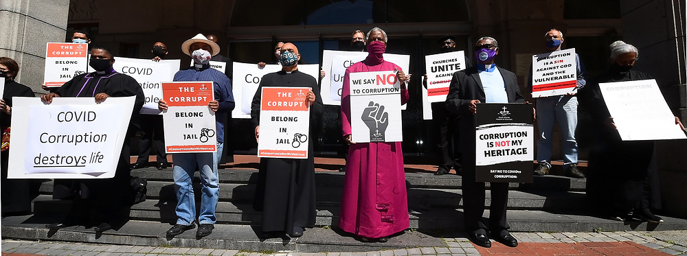 """South Africa -Cape Town - 15 September 2020 -Western Cape church leaders engaged in a public """"silent performance"""" against COVID-19 corruption outside St Georges Cathedral and infront of the Premier's office inWale Street, Cape Town.The event is part of a nation-wide campaign against corruption organised during September, Heritage Month, by the South African Council of Churches, under the banner """"Corruption is not our heritage"""". Picture:Phando Jikelo/African News Agency(ANA)"""