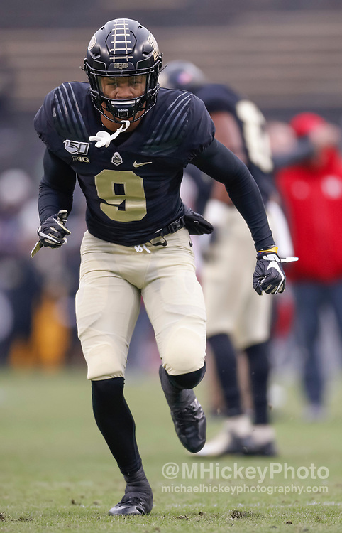 WEST LAFAYETTE, IN - NOVEMBER 02: Mershawn Rice #9 of the Purdue Boilermakers is seen before the game against the Nebraska Cornhuskers at Ross-Ade Stadium on November 2, 2019 in West Lafayette, Indiana. (Photo by Michael Hickey/Getty Images) *** Local Caption *** Mershawn Rice