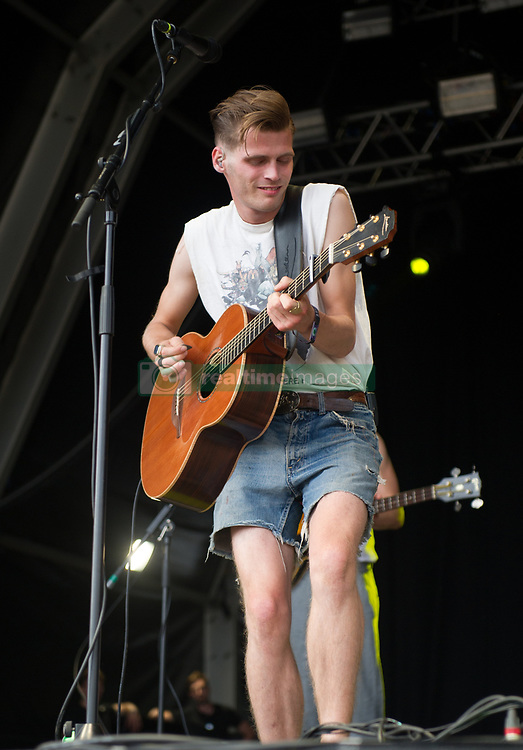 Alfie Hudson-Taylor of Hudson Taylor performs on stage on day 1 of Standon Calling Festival on July 27, 2018 in Standon, England. Picture date: Friday 27 July, 2018. Photo credit: Katja Ogrin/ EMPICS Entertainment.