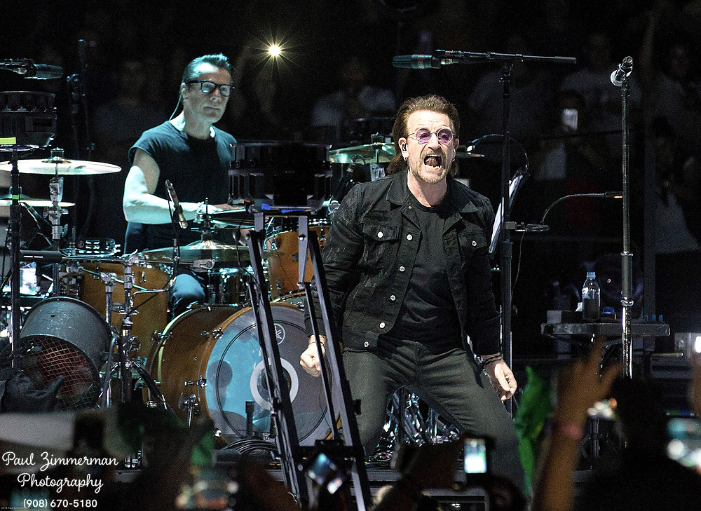 NEWARK, NJ - JUNE 29:  Larry Mullen, Jr. and Bono of U2 perform onstage during the eXPERIENCE + iNNOCENCE TOUR at Prudential Center on June 29, 2018 in Newark, New Jersey.  (Photo by Paul Zimmerman/Getty Images) *** Local Caption *** Larry Mullen; Jr.; Bono