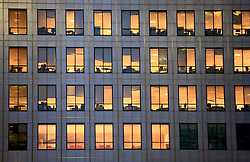 UNITED KINGDOM LONDON 24MAY09 - Office windows in the Canary Wharf area of the London Docklands during the early morning hours...jre/Photo by Jiri Rezac..© Jiri Rezac 2009