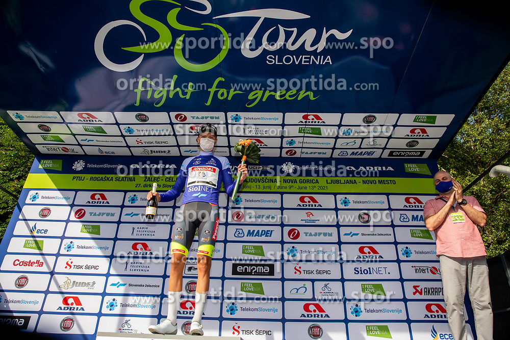 Mathijs PAASSCHENS of BINGOAL PAUWELS SAUCES celebrates in blue jersey at trophy ceremony after the 1st Stage of 27th Tour of Slovenia 2021 cycling race between Ptuj and Rogaska Slatina (151,5 km), on June 9, 2021 in Slovenia. Photo by Vid Ponikvar / Sportida