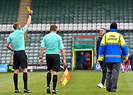 Plymouth Argyle Manager Ryan Lowe receives a yellow card on half time from Referee  JAMES BELL   during the EFL Sky Bet League 1 match between Plymouth Argyle and Sunderland at Home Park, Plymouth, England on 1 May 2021.