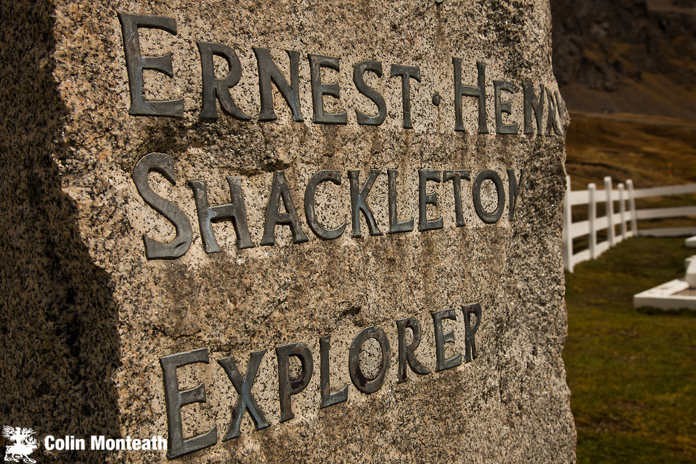 British polar explorer Sir Ernest Shackleton's grave, Grytviken cemetery, South Georgia, Antarctica