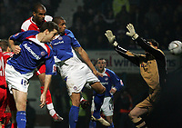 Photo: Paul Thomas.<br />Chesterfield Town v Charlton Athletic. Carling Cup. 07/11/2006.<br /><br />Caleb Forlan of Chesterfield sores his goal.
