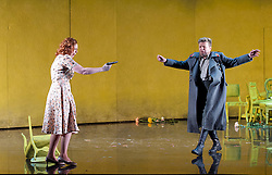 The Queen of Spades<br /> English National Opera <br /> at the London Coliseum, London, Great Britain <br /> rehearsal <br /> 3rd June 2015 <br /> directed by David Alden <br /> conducted by Edward Gardner<br /> <br /> <br /> <br /> <br /> Giselle Allen as Lisa<br /> <br /> Peter Hoare as Hermann <br /> <br /> <br /> <br /> Photograph by Elliott Franks <br /> Image licensed to Elliott Franks Photography Services