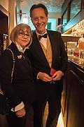 JOAN WASHINGTON; RICHARD E. GRANT, Nicky Haslam hosts dinner at  Gigi's for Leslie Caron. 22 Woodstock St. London. W1C 2AR. 25 March 2015