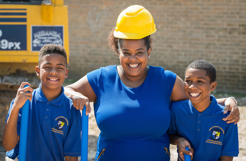 Kristy Love poses for a photograph with students during a groundbreaking ceremony at Codwell Elementary School, March 3, 2017.
