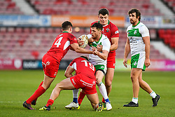 11th November 2018 , Racecourse Ground,  Wrexham, Wales ;  Rugby League World Cup Qualifier,Wales v Ireland ; Scott Grix of Ireland is tackled by Curtis Davies of Wales <br /> <br /> <br /> Credit:   Craig Thomas/Replay Images