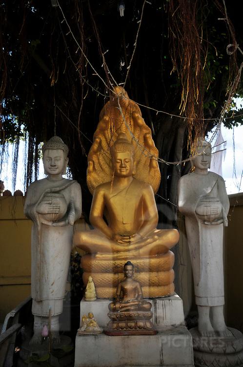 Statues in a buddhist temple of Phnom Penh, Cambodia, Southeast Asia