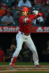 May 16, 2018 - Anaheim, CA, U.S. - ANAHEIM, CA - MAY 16: Los Angeles Angels of Anaheim designated hitter Shohei Ohtani (17) during an at bat in the first inning of a game against the Houston Astros played on May 16, 2018 at Angel Stadium of Anaheim in Anaheim, CA.(Photo by John Cordes/Icon Sportswire) (Credit Image: © John Cordes/Icon SMI via ZUMA Press)