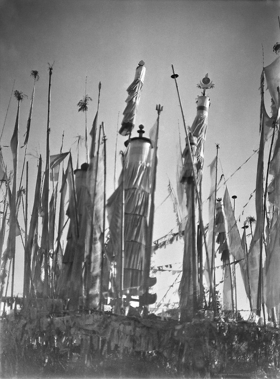 Prayer Flags at Nepalese Shrine, Darjeeling, India, 1929