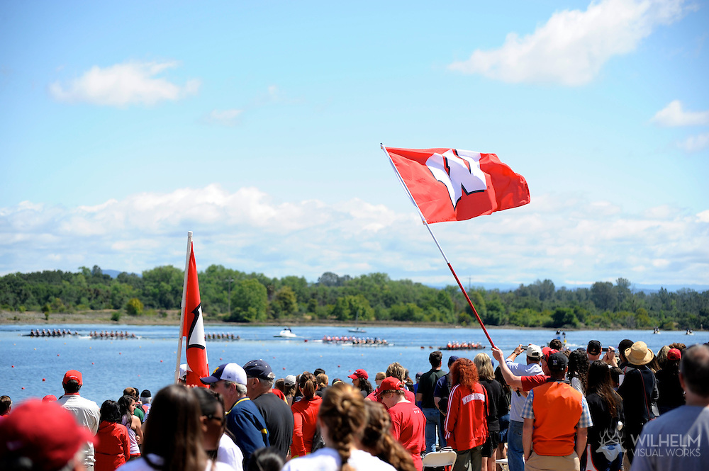 29 MAY 2011: Wisconsin fans cheer on their team during the Second Eights Petite Final during the 2011 NCAA Division I Women's Rowing Championship hosted by Washington State University held at the Sacramento State Aquatic Center in Gold River, CA. Wisconsin placed 7th in the event. © Brett Wilhelm