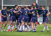 Scotland players celebrate victory the end of the match<br /> <br /> Photographer Bob Bradford/CameraSport<br /> <br /> The 2018 U18 6 Nations Festival - Scotland U18 v England U18 - Saturday 31st March 2018 - CCB Centre for Sporting Excellence, Ystrad Mynach Hengoed <br /> <br /> World Copyright © 2018 CameraSport. All rights reserved. 43 Linden Ave. Countesthorpe. Leicester. England. LE8 5PG - Tel: +44 (0) 116 277 4147 - admin@camerasport.com - www.camerasport.com
