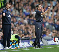 Photo: Andi Thompson.<br />Everton v Manchester City. The Barclays Premiership. 30/09/2006.<br />Everton Manager David Moyes (L) and Manchester City Manager Stuart Pearce (R)