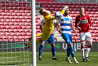 Queens Park Rangers' Joe Lumley saves from Middlesbrough's George Saville<br /> <br /> Photographer Alex Dodd/CameraSport<br /> <br /> The EFL Sky Bet Championship - Middlesbrough v Queens Park Rangers - Saturday 17th April 2021 - Riverside Stadium - Middlesbrough <br /> <br /> World Copyright © 2021 CameraSport. All rights reserved. 43 Linden Ave. Countesthorpe. Leicester. England. LE8 5PG - Tel: +44 (0) 116 277 4147 - admin@camerasport.com - www.camerasport.com